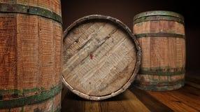 Tambor Textured de madeira e do ferro da cervejaria - trajeto de grampeamento Imagem de Stock Royalty Free