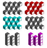 Tambor y fuentes cuadradas cúbicas bajas en diversos colores Fotografía de archivo