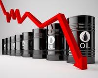 Tambores de óleo com seta vermelha Fotografia de Stock Royalty Free