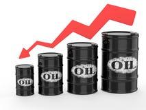 Tambores de óleo com seta vermelha para baixo Imagens de Stock