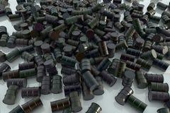 Tambores de óleo em um plano Imagem de Stock