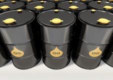 Tambores de óleo pretos do metal no fundo branco fotografia de stock royalty free