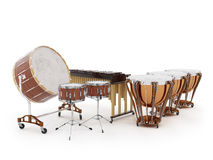 Tambores de la orquesta aislados en la representación blanca 3D stock de ilustración
