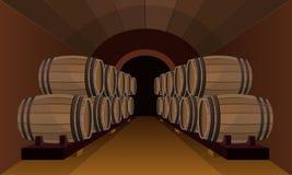 Tambores de madeira na adega de vinho ilustração stock