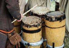 Tambores de madera viejos Fotografía de archivo