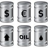 Tambores de petróleo brilhantes do metal com símbolos Foto de Stock