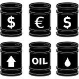 Tambores de petróleo do preto liso com símbolos Fotos de Stock