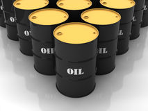 Tambores de petróleo pretos Fotos de Stock Royalty Free