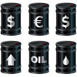 Tambores de petróleo pretos brilhantes com símbolos Fotografia de Stock Royalty Free
