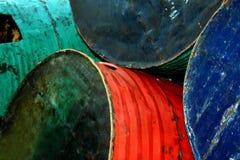 Tambores de petróleo viejos Imagen de archivo libre de regalías
