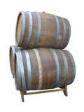 Tambores de vinho de madeira velhos tradicionais isolados sobre o branco Imagem de Stock Royalty Free