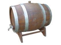 Tambores de vinho de madeira velhos tradicionais isolados sobre o branco Fotos de Stock Royalty Free