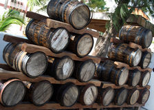 Tambores de vinho do armazém foto de stock