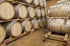 Tambores de vinho do carvalho, Baja, México Fotografia de Stock