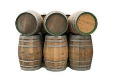 Tambores de vinho isolados Fotografia de Stock