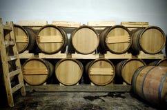 Tambores de vinho na adega velha Fotos de Stock Royalty Free