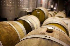 Tambores de vinho nas fileiras Foto de Stock