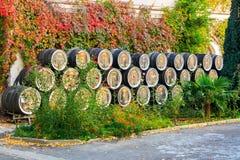 Tambores de vinho no ar livre Imagens de Stock