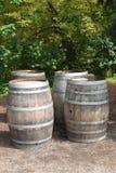 Tambores de vinho velhos Fotografia de Stock