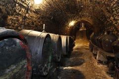 Tambores de vinho velhos na adega Imagens de Stock