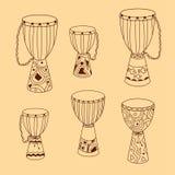 Tambores del djembe del garabato del vector fijados Fotografía de archivo