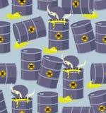 Tambores dos resíduos tóxicos da descarga Descarga sem emenda do teste padrão perigosa Fotografia de Stock Royalty Free
