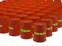 Tambores dos resíduos tóxicos no fundo branco Fotografia de Stock