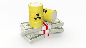 Tambores para o desperdício radioativo do biohazard em pilhas de cédulas do dólar Fotografia de Stock Royalty Free