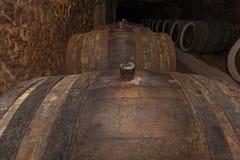 Tambores para o vinho em adegas velhas Fotos de Stock