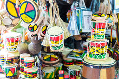 Tamborine product at the Mercado Modelo in Salvador, Bahia. Royalty Free Stock Images