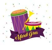 Tambour avec la trompette à la célébration de mardi gras illustration stock