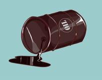 Tambour avec le pétrole renversé Image stock