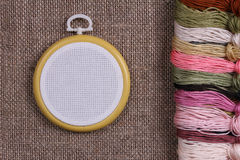 Tambour for cross stitch on sacking Stock Image
