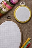 Tambour for cross stitch on sacking Stock Photos