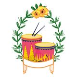Tambour et trompette sur la guirlande de laurier illustration stock