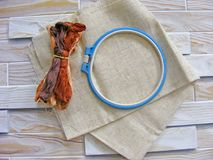 Tambour with threads for embroidery brown Royalty Free Stock Photos