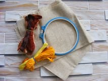 Tambour with threads for embroidery brown and yellow Royalty Free Stock Images