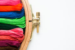 Tambour with threads for embroidery Stock Image