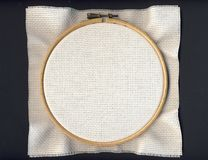 Tambour with white Aida cloth Stock Image