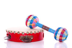 A tambourin and a rattle Stock Photo