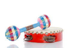 A tambourin and a rattle Royalty Free Stock Image