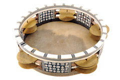 Tambourine. With the tense skin and the inlaid rim with sonorous plates Stock Images