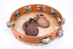 Tambourine and castanets. Spanish folk royalty free stock photos