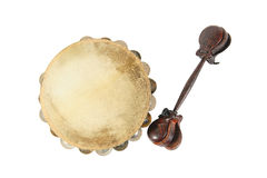 Tambourine and castanets Stock Photos