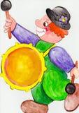 Tambourine clown Royalty Free Stock Image