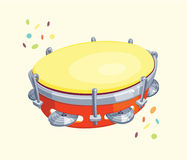 Tambourine  with Confetti Royalty Free Stock Photography