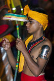 A Tambourine Dancer (Rabun Nettuwo) performs along the streets of Kandy during the Esala Perahera in Sri Lanka. Royalty Free Stock Photography