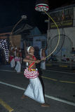 Tambourine Dancers (Rabun Nettuwo) perform along the streets of Kandy during the Esala Perahera in Sri Lanka. Royalty Free Stock Images