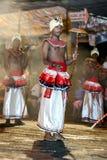 Tambourine Dancers (Rabun Nettuwo) perform along the streets of Kandy during the Esala Perahera in Sri Lanka. Stock Photos