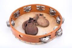 Tambourine e castanets Fotos de Stock Royalty Free